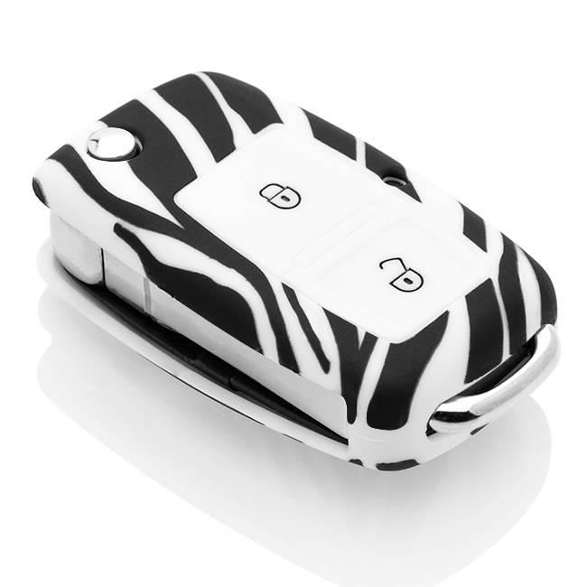 Skoda Car key cover - Silicone Protective Remote Key Shell - FOB Case Cover - Zebra