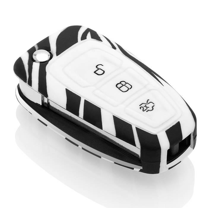 TBU car TBU car Sleutel cover compatibel met Ford - Silicone sleutelhoesje - beschermhoesje autosleutel - Zebra