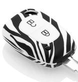 TBU car TBU car Sleutel cover compatibel met Nissan - Silicone sleutelhoesje - beschermhoesje autosleutel - Zebra