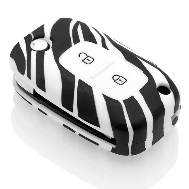 TBU car TBU car Autoschlüssel Hülle kompatibel mit Mercedes 2 Tasten - Schutzhülle aus Silikon - Auto Schlüsselhülle Cover in Zebra