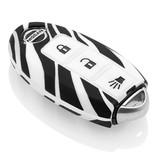 TBU car Autoschlüssel Hülle für Nissan 3 Tasten (Keyless Entry) - Schutzhülle aus Silikon - Auto Schlüsselhülle Cover in Zebra