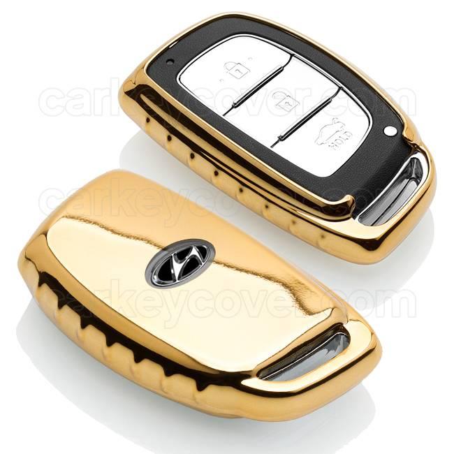 TBU car TBU car Autoschlüssel Hülle kompatibel mit Hyundai 3 Tasten (Keyless Entry) - Schutzhülle aus TPU - Auto Schlüsselhülle Cover in Gold