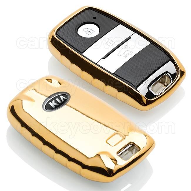 TBU car TBU car Autoschlüssel Hülle kompatibel mit Kia 3 Tasten (Keyless Entry) - Schutzhülle aus TPU - Auto Schlüsselhülle Cover in Gold