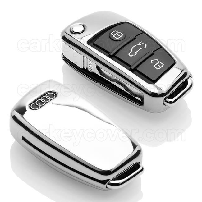 TBU car TBU car Funda Carcasa llave compatible con Audi - Funda de TPU - Cover de Llave Coche - Cromo plateado