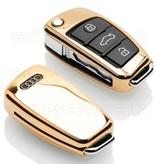 TBU car Autoschlüssel Hülle für Audi 3 Tasten - Schutzhülle aus TPU - Auto Schlüsselhülle Cover in Gold