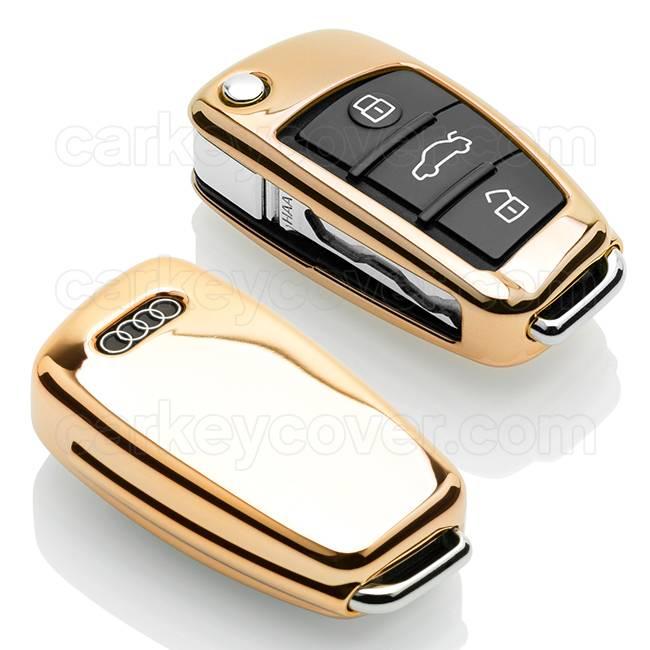 Audi Capa TPU Chave do carro - Capa protetora - Tampa remota FOB - Ouro