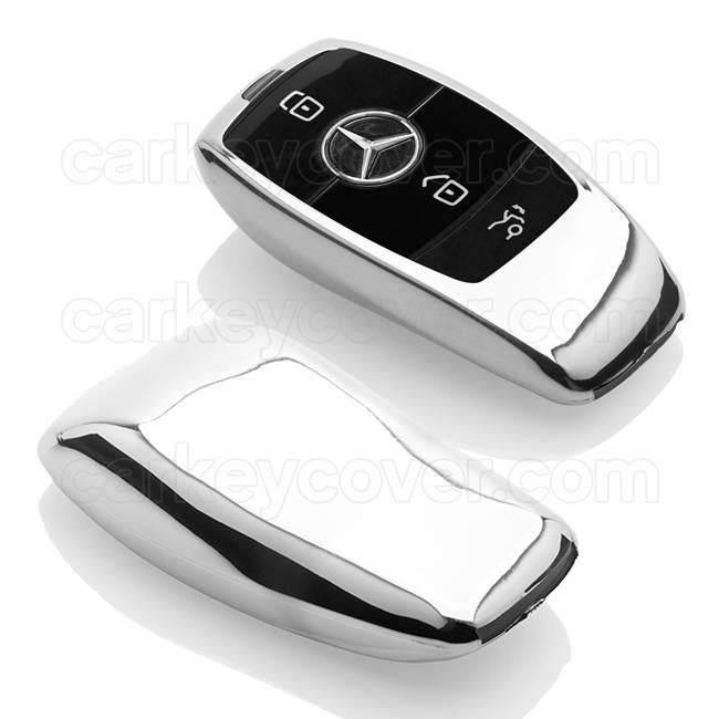 TBU car TBU car Autoschlüssel Hülle kompatibel mit Mercedes 3 Tasten (Keyless Entry) - Schutzhülle aus TPU - Auto Schlüsselhülle Cover in Silber Chrom