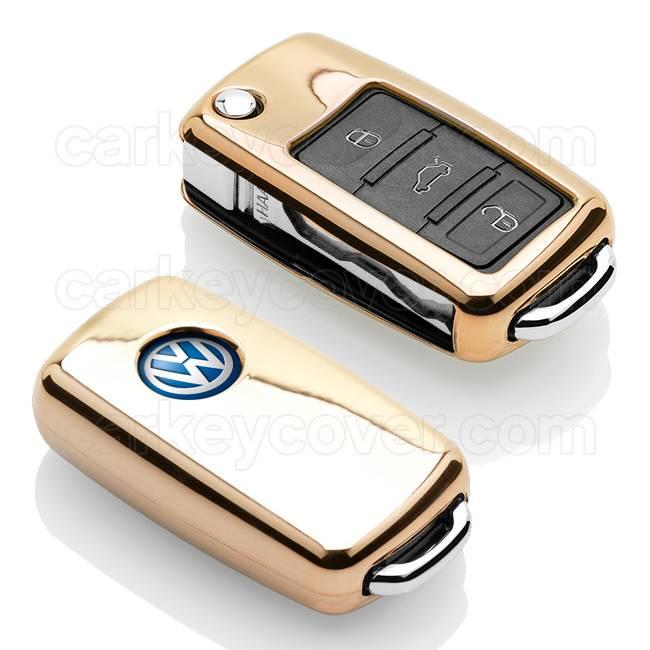 TBU car TBU car Sleutel cover compatibel met VW - TPU sleutel hoesje / beschermhoesje autosleutel - Goud