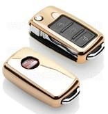 TBU car Autoschlüssel Hülle für Seat 3 Tasten - Schutzhülle aus TPU - Auto Schlüsselhülle Cover in Gold