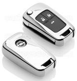 TBU car TBU car Autoschlüssel Hülle kompatibel mit Opel 3 Tasten - Schutzhülle aus TPU - Auto Schlüsselhülle Cover in Silber Chrom