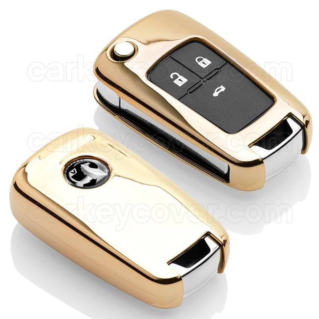 Vauxhall Autoschlüssel Hülle - TPU Schutzhülle - Schlüsselhülle Cover - Gold