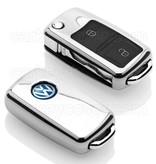 Volkswagen Autoschlüssel Hülle - TPU Schutzhülle - Schlüsselhülle Cover - Silber Chrom
