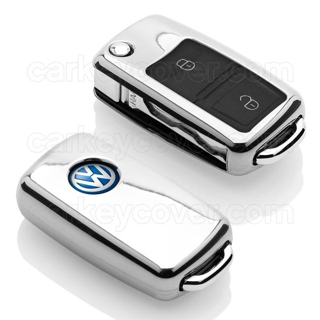 TBU car TBU car Autoschlüssel Hülle kompatibel mit VW 2 Tasten - Schutzhülle aus TPU - Auto Schlüsselhülle Cover in Silber Chrom
