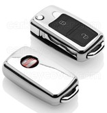 TBU car TBU car Autoschlüssel Hülle kompatibel mit Seat 2 Tasten - Schutzhülle aus TPU - Auto Schlüsselhülle Cover in Silber Chrom