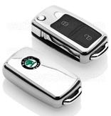 TBU car TBU car Autoschlüssel Hülle kompatibel mit Skoda 2 Tasten - Schutzhülle aus TPU - Auto Schlüsselhülle Cover in Silber Chrom