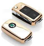 TBU car Autoschlüssel Hülle für Skoda 2 Tasten - Schutzhülle aus TPU - Auto Schlüsselhülle Cover in Gold