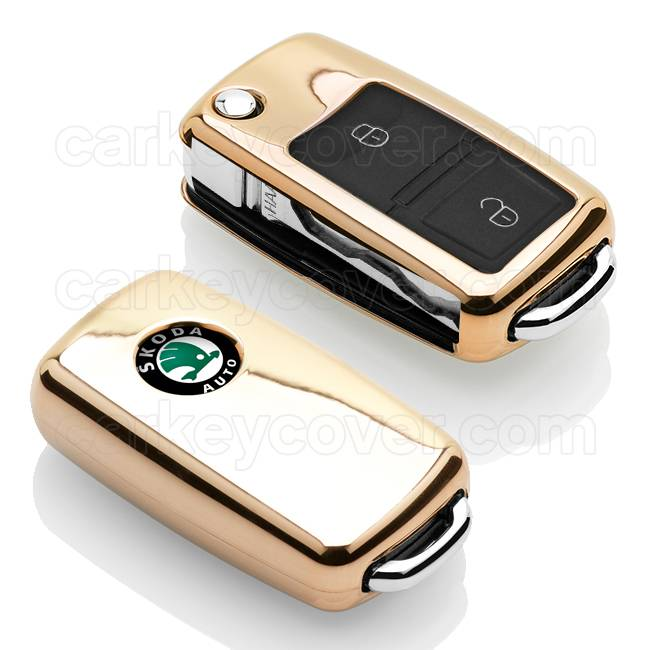 TBU car TBU car Autoschlüssel Hülle kompatibel mit Skoda 2 Tasten - Schutzhülle aus TPU - Auto Schlüsselhülle Cover in Gold