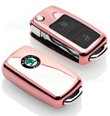 TBU car TBU car Sleutel cover compatibel met Skoda - TPU sleutel hoesje / beschermhoesje autosleutel - Roségoud