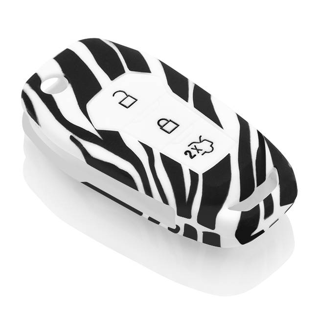 Ford Car key cover - Silicone Protective Remote Key Shell - FOB Case Cover - Zebra