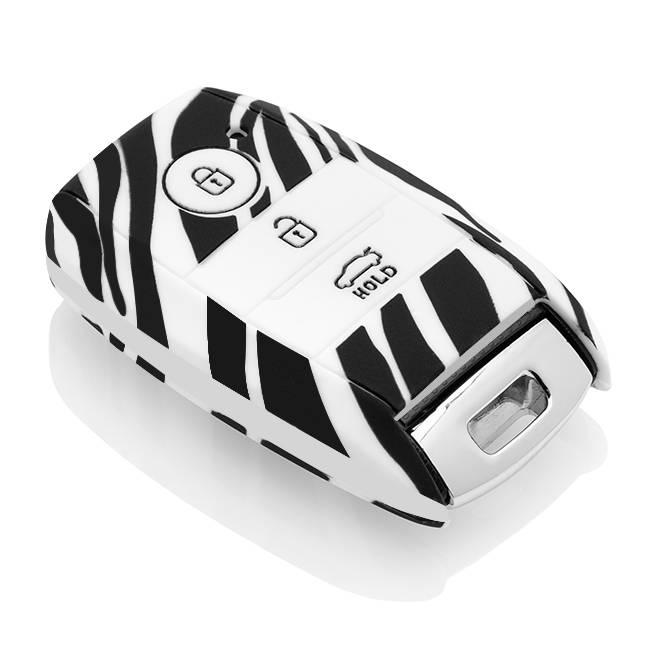 Kia Car key cover - Silicone Protective Remote Key Shell - FOB Case Cover - Zebra