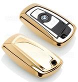 TBU car Autoschlüssel Hülle für BMW 3 Tasten (Keyless Entry) - Schutzhülle aus TPU - Auto Schlüsselhülle Cover in Gold