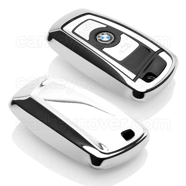 TBU car Autoschlüssel Hülle für BMW 3 Tasten (Keyless Entry) - Schutzhülle aus TPU - Auto Schlüsselhülle Cover in Silber Chrom