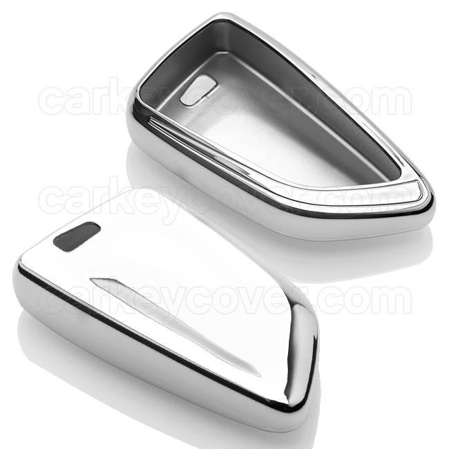 TBU car TBU car Autoschlüssel Hülle kompatibel mit BMW 4 Tasten (Keyless Entry) - Schutzhülle aus TPU - Auto Schlüsselhülle Cover in Silber Chrom