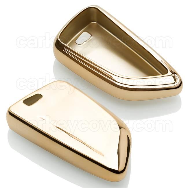 TBU car TBU car Autoschlüssel Hülle kompatibel mit BMW 4 Tasten (Keyless Entry) - Schutzhülle aus TPU - Auto Schlüsselhülle Cover in Gold
