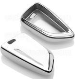 TBU car TBU car Autoschlüssel Hülle kompatibel mit BMW 3 Tasten (Keyless Entry) - Schutzhülle aus TPU - Auto Schlüsselhülle Cover in Silber Chrom