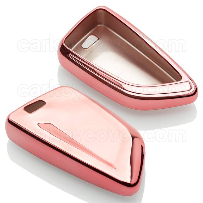 TBU car TBU car Car key cover compatible with BMW - TPU Protective Remote Key Shell - FOB Case Cover - Rose Gold