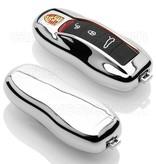 TBU·CAR Porsche Autoschlüssel Hülle - TPU Schutzhülle - Schlüsselhülle Cover - Silber Chrom