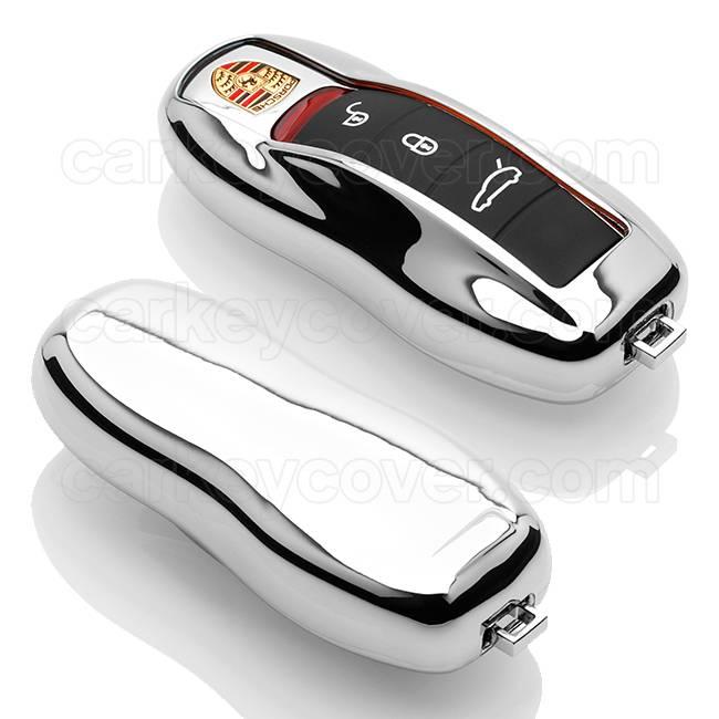 TBU car TBU car Autoschlüssel Hülle kompatibel mit Porsche 3 Tasten (Keyless Entry) - Schutzhülle aus TPU - Auto Schlüsselhülle Cover in Silber Chrom