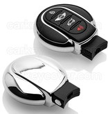 TBU car TBU car Autoschlüssel Hülle kompatibel mit Mini 3/4 Tasten (Keyless Entry) - Schutzhülle aus TPU - Auto Schlüsselhülle Cover in Silber Chrom