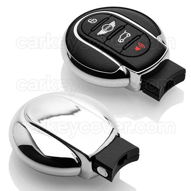 TBU car TBU car Sleutel cover compatibel met Mini - TPU sleutel hoesje / beschermhoesje autosleutel - Chrome