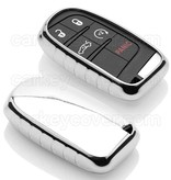 TBU car TBU car Autoschlüssel Hülle kompatibel mit Jeep 5 Tasten (Keyless Entry) - Schutzhülle aus TPU - Auto Schlüsselhülle Cover in Silber Chrom