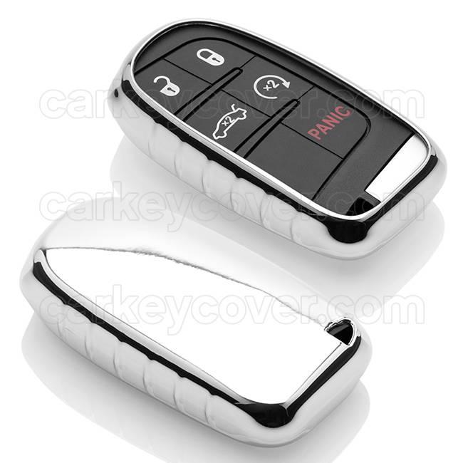 TBU car Autoschlüssel Hülle für Jeep 5 Tasten (Keyless Entry) - Schutzhülle aus TPU - Auto Schlüsselhülle Cover in Silber Chrom