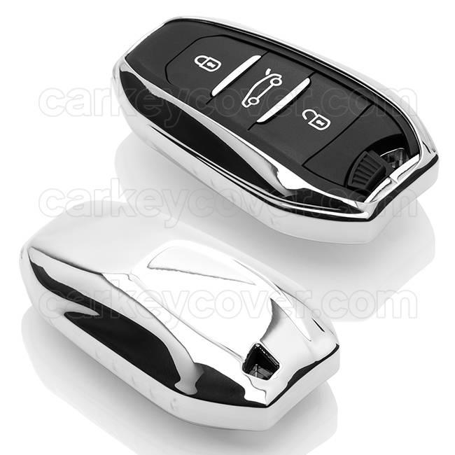TBU car TBU car Autoschlüssel Hülle kompatibel mit Peugeot 3 Tasten (Keyless Entry) - Schutzhülle aus TPU - Auto Schlüsselhülle Cover in Silber Chrom