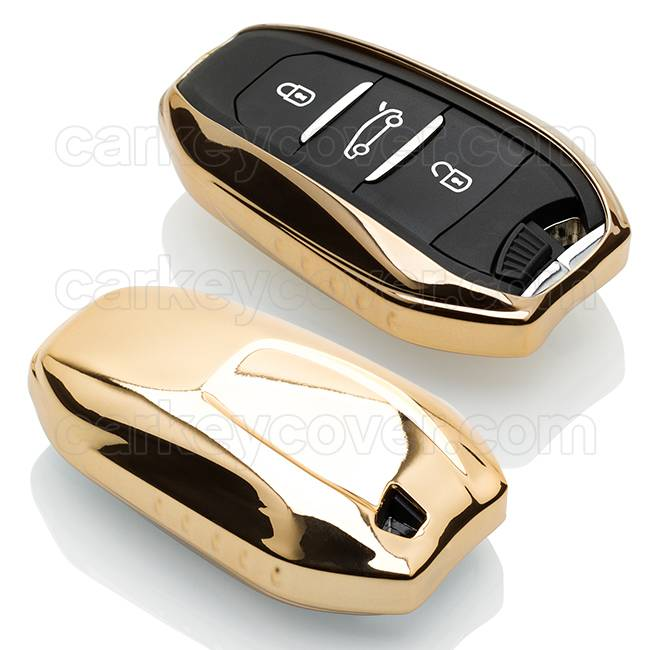 TBU car TBU car Autoschlüssel Hülle kompatibel mit Peugeot 3 Tasten (Keyless Entry) - Schutzhülle aus TPU - Auto Schlüsselhülle Cover in Gold