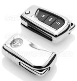 Toyota Autoschlüssel Hülle - TPU Schutzhülle - Schlüsselhülle Cover - Silber Chrom
