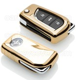 TBU car TBU car Autoschlüssel Hülle kompatibel mit Toyota 2 Tasten - Schutzhülle aus TPU - Auto Schlüsselhülle Cover in Gold
