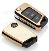 TBU car Autoschlüssel Hülle für Skoda 3 Tasten - Schutzhülle aus TPU - Auto Schlüsselhülle Cover in Gold