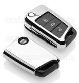 TBU car TBU car Autoschlüssel Hülle kompatibel mit Seat 3 Tasten - Schutzhülle aus TPU - Auto Schlüsselhülle Cover in Silber Chrom