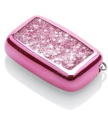 Range Rover Car key cover - Silicone Protective Remote Key Shell - FOB Case Cover - Pink Liquid glitters