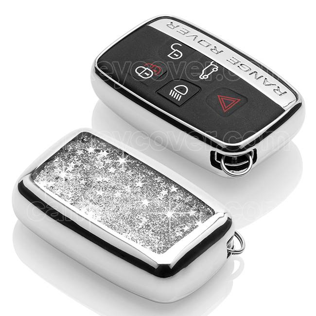Range Rover Car key cover - Silicone Protective Remote Key Shell - FOB Case Cover - Silver Liquid glitters