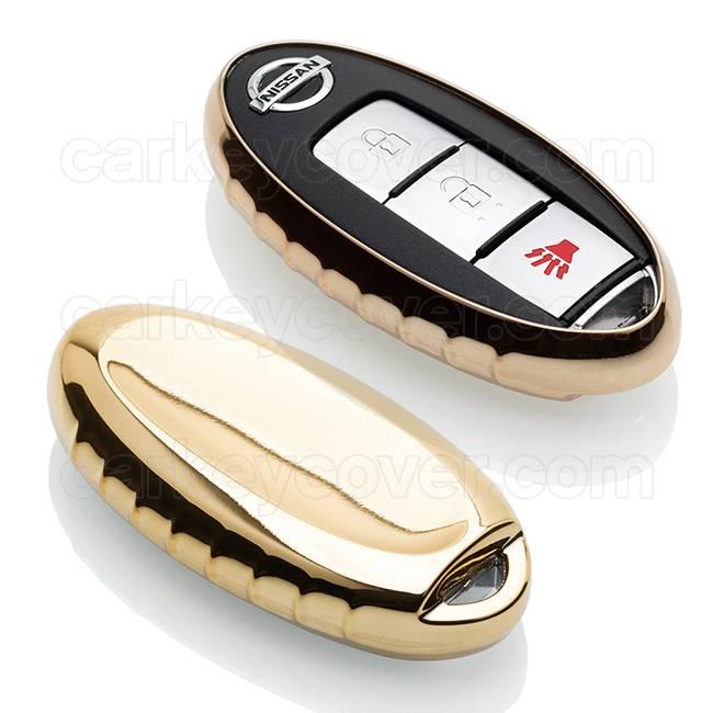 TBU car TBU car Sleutel cover compatibel met Nissan - TPU sleutel hoesje / beschermhoesje autosleutel - Goud