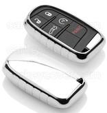 Fiat Autoschlüssel Hülle - TPU Schutzhülle - Schlüsselhülle Cover - Silber Chrom
