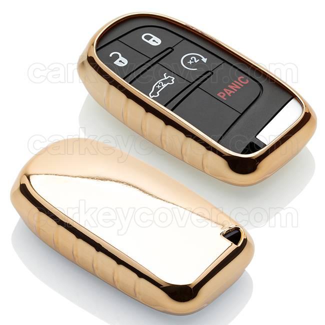 TBU car TBU car Sleutel cover compatibel met Fiat - TPU sleutel hoesje / beschermhoesje autosleutel - Goud