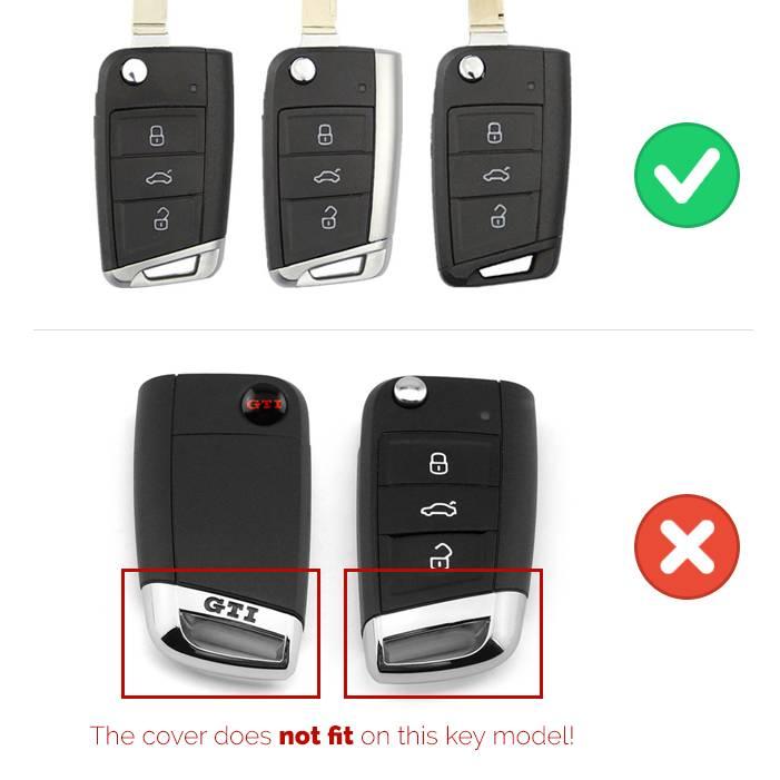 TBU car TBU car Autoschlüssel Hülle kompatibel mit VW 3 Tasten - Schutzhülle aus TPU - Auto Schlüsselhülle Cover in Silber Chrom