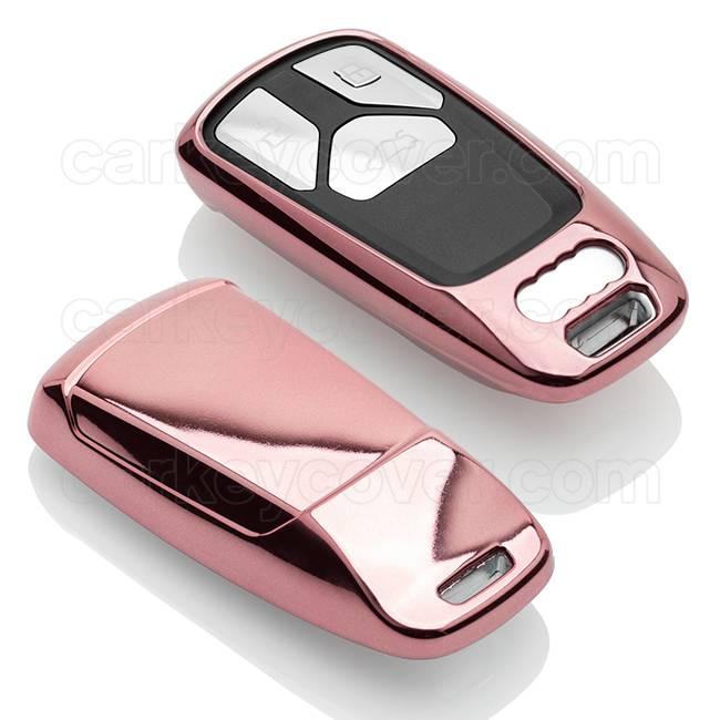 TBU car TBU car Autoschlüssel Hülle kompatibel mit Audi 3 Tasten (Keyless Entry) - Schutzhülle aus TPU - Auto Schlüsselhülle Cover in Roségold