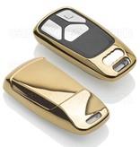 TBU car TBU car Autoschlüssel Hülle kompatibel mit Audi 3 Tasten (Keyless Entry) - Schutzhülle aus TPU - Auto Schlüsselhülle Cover in Gold